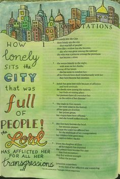 gorgeous for the first page of Lamentations! maybe use light punk instead of yellow. ♡ on pinny, on insta ♡ Self Healing Quotes, Healing Scriptures, Beautiful Word Bible, Bible Verse Art, Scripture Study, Sermon Notes, Bible Illustrations, Bible Study Tools, Lamentations