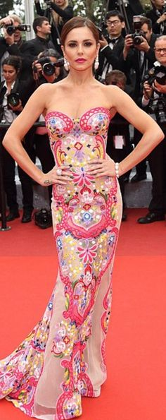 Who made  Cheryl Cole's sweetheart print gown?