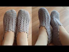 PANTUFA EM CROCHÊ | Passo a Passo - YouTube Booties Crochet, Crochet Baby Shoes, Knitted Slippers, Crochet Slippers, Knit Crochet, Crochet Hats, Crochet Skirt Pattern, Crochet Squares, Crochet Patterns