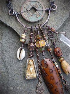 Shaman Protective Amulet Necklace by maggiezees on Etsy Wire Jewelry, Boho Jewelry, Jewelry Art, Jewelery, Handmade Jewelry, Jewelry Design, Artisan Jewelry, Tribal Jewelry, Czech Glass Beads