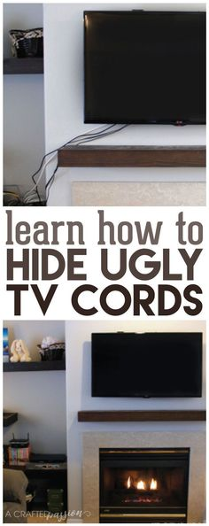 Super easy how to hide those ugly tv cords and wires. Update your living room with this easy DIY tutorial!