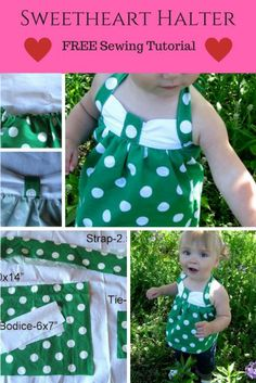 Sweetheart Girls Halter Pattern. Find this and hundreds of FREE sewing tips and tutorials at www.peekaboopages.com