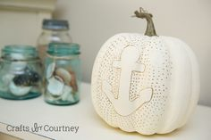Coastal Anchor Pumpkin Craft: Fall Home Tour at Crafts by Courtney.