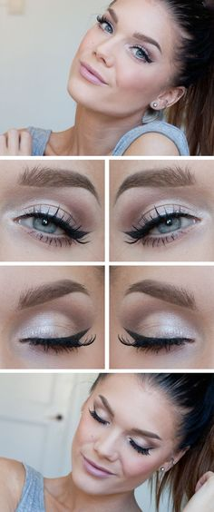 """Today's Look : """"Fresh"""" -Linda Hallberg (a very light hand on the eyes but definitely very """"made up"""" with liner and a matte light pink lip) 09/04/13"""
