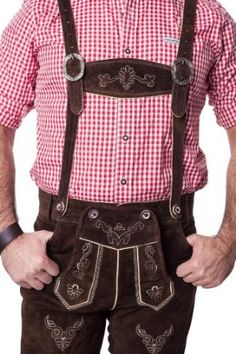 Lederhosen Leather Shorts Oktoberfest Trachten Bavarian Dark Brown