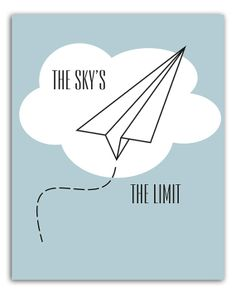 Sky's the limit paper plane instant download by PrintitFrameit, $5.00