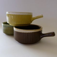 Vintage ramekins with handles set of 3, made in Japan, soup bowl, japanese, retro, oven proof, brown, green, chartreuse, ceramic, stacking