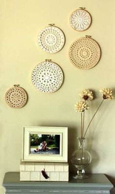 Crochet doilies/embroidery hoops for wall decor