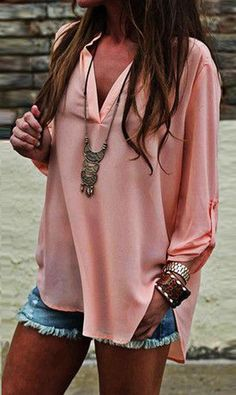 V-neck Long Sleeves Casual Sexy Chiffon Blouse