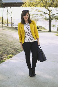 Mustard, navy, print top Top, The Limited (not online - try stores. Similar from XXI). Blazer, The Limited (similar from ModCloth). Jeans, Hudson (exact). Booties, Isola (similar). Bag, JustFab (similar with studs from ModCloth).