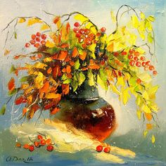 You can buy original art painting - Flower Autumn bouquet by artist Olha Darchuk in online art gallery Jose Art Gallery. Best prices for art! Art Floral, Renoir Paintings, Plant Drawing, Oil Painting On Canvas, Watercolor Art, Illustration, Draw Flowers, Buy Art, Flower Drawings