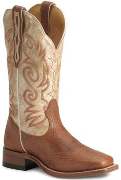 Boulet Cream Shaft Cowgirl Boots - Square Toe available at #Sheplers