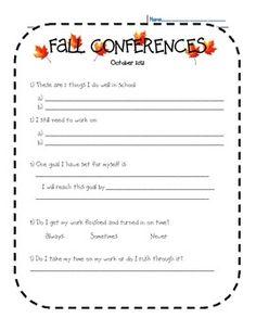 Fall Parent Teacher Conference Form