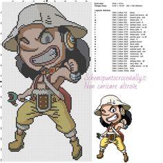 Usopp (One Piece) schema punto croce 80x150 25 colori