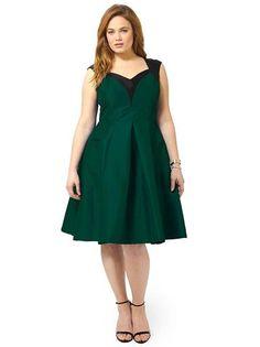 Plus Size CHERRY VELVET Dita Holiday Dress In Emerald Green & Black