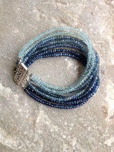 Sapphire and Aquamarine 7 Strand Bracelet with by DevaAriel