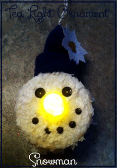 DIY Snowman tea light ornament (or childs night light) perfect for the Christmas tree. Christmas Tree Ornaments, Christmas Fun, Christmas Decorations, Xmas, Christmas Projects, Holiday Crafts, Holiday Ideas, Winter Holiday, Holiday Decor