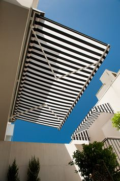 The black and white awnings create a clean, classic look!