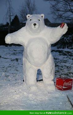 The Coca-Cola polar bear Ice cold refreshment Snow bear Sooo cool 😎 Winter Fun, Winter Snow, Funny Snowman, Coca Cola Polar Bear, Winter Schnee, Ice Art, I Love Snow, Snow Sculptures, Snow Art