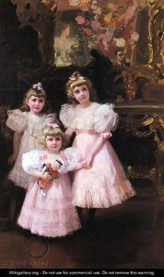 The Three Errazuriz Sisters - Joaquin Sorolla y Bastida aka the three frito hermanas