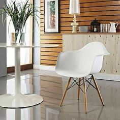 Eames Style Wood Dowel Base Eiffel Arm Chair in various colors