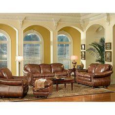 4-Piece Pecan Living Room Set   Nebraska Furniture Mart
