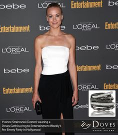 More #DOVESJEWELRY from #EMMY night! Dexter's Yvonne Strahovski rocked a show-stopping ring from the #Gothica collection! #starslovedoves
