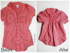 Refashion a women's top into a gathered shirt for a little girl