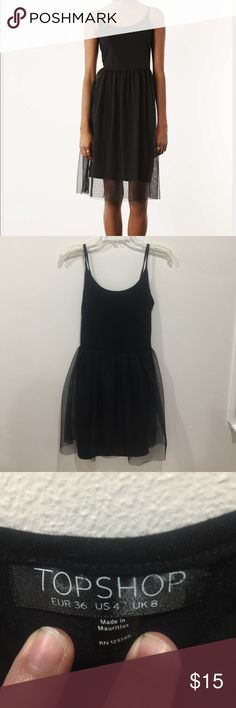 Topshop black tulle dress Super cute and trendy dress from topshop in perfect condition gently used. Length approx 34 inches Topshop Dresses