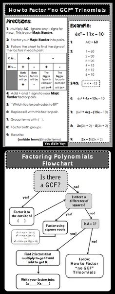 (free) This sheet walks kids through how to factor trinomials with no GCF (without guessing and checking!) and also a flowchart that classifies types of polynomial factoring and how to tackle each type.