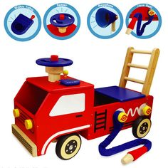 Fire Engine Walker and Ride On  #toys #wooden toys