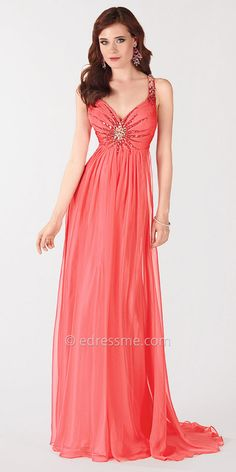 Classic Coral Prom Dress by Alyce Paris