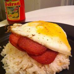 Spam n' eggs over garlic fried rice + Jufran.
