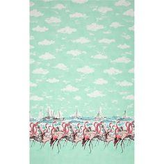 Flamingo Border Seafoam Michael Miller Fabric 27 inches LAST