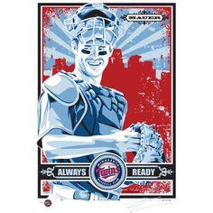 """Joe Mauer Minnesota Twins Sports Propaganda 17"""" x 21"""" Player Serigraph"""
