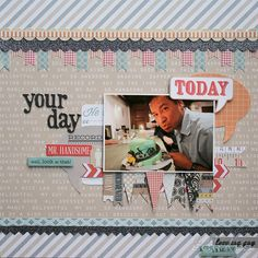 Birthday layout with Teresa Collins He Said She Said collection Scrapbook Paper Crafts, Scrapbooking Ideas, Paper Crafting, Birthday Scrapbook Layouts, Teresa Collins, Picture Layouts, Scrapbook Organization, Number Two, Mother And Father