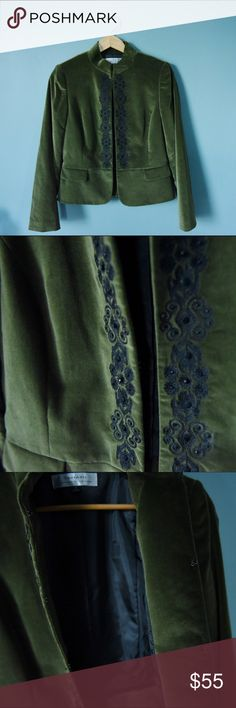 Green Velvet Jacket Tahari Velvet blazer/ jacket with silk lining and intricate embroidered design down the front. Clasp enclosures all the way down for a flawless finish. Size 4-6. Tahari Jackets & Coats Blazers