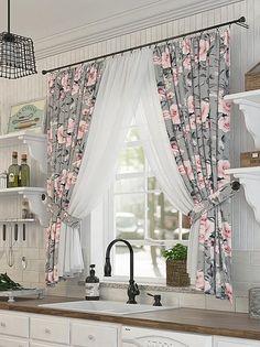 Home Building Design, Home Room Design, House Design, Living Room Decor Curtains, Home Curtains, Cortina Floral, Rideaux Shabby Chic, Window Curtain Designs, Rideaux Design