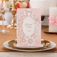 Laser Cut Pink Color Floral design Wedding Invitation Card with white lace…