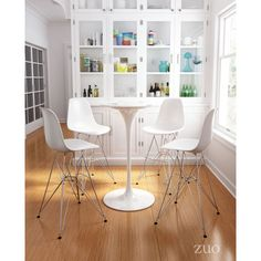 Zip Bar Chair White- The Ultimate in Mid-Century Modern styling shine in the Zip bar chair featuring molded ABS plastic seat/back supported by slim spire type chrome base with black feet. Velvet Furniture, White Furniture, Accent Furniture, Outdoor Furniture, Mid Century Bar Stools, Recliner With Ottoman, Swivel Chair, Cozy Sofa, Compact Table And Chairs