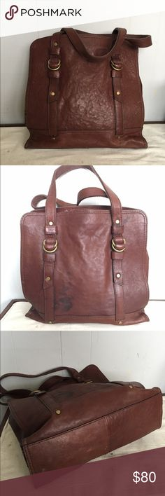 Fossil reissue north south brown tote bag Pre owned has a stain on one side and two small seam issues see pic Fossil Bags Totes