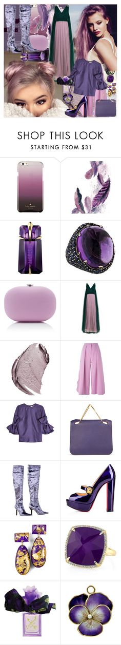 """""""Purple Has a Soul"""" by bklou ❤ liked on Polyvore featuring Kate Spade, Thierry Mugler, Piranesi, Jeffrey Levinson, Delpozo, Christian Dior, Roksanda, Tom Ford, Anne Sisteron and Vera Wang"""