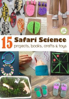 15 safari science activities for kids. A round up of projects, books, crafts, and toys. Perfect for a jungle themed unit or a science station. Jungle Theme Activities, Preschool Jungle, Animal Activities For Kids, Science For Kids, Africa Activities For Kids, Summer Science, Science Fun, Preschool Science, Physical Science