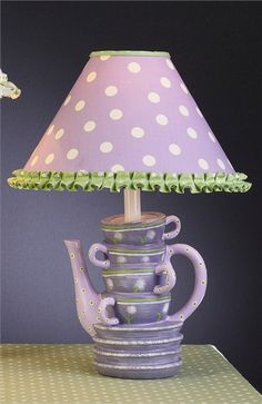 Fun and whimsical, your little girl will love the Lavender & Green & White Stacked Cups Lamp.  Great for a tea party-themed room or a play kitchen area, the fun look of this lamp will really get your little one excited