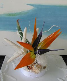 Bird of Paradise Wedding Cake Topper~Bird of Paradise~Starfish Topper~Seashell Cake Topper~Beach Wedding Cake Topper