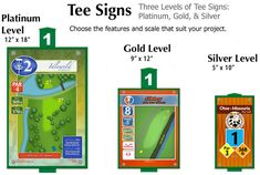 John Houck is the leading course designer in the sport of disc golf and here are some exampeles of his signage. Signage should be clean and concise, yet offered at multiple levels to not only fit within a range of budgets, but with the natural characteristics of the course as well.