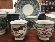Tsuboya pottery from Okinawa - Arabesque shrimp sgraffito and akae cups #ceramics #ceramic #pottery #teatime #greentea #tea #okinawa  #tsuboya #japaneseceramics #japanesepottery #wabicha