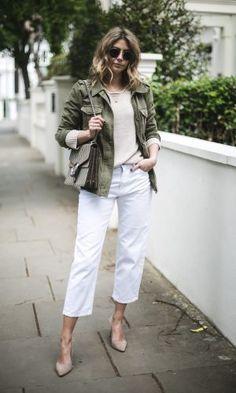 Emma Hill from EJSTYLE wears khaki utility jacket beige jumper white cropped m Army Jacket Outfits, Utility Jacket Outfit, Green Utility Jacket, Khaki Jacket, Blazer Outfits, Chic Outfits, Trendy Outfits, Green Vest, Camo Jacket