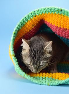 Have a kitty that loves to hide away? Using yarn you have on hand you can create a lovely crochet cat sack hideaway they'll just love! Cat Crafts, Animal Crafts, Cardboard Cat Scratcher, Crochet Animals, Crochet Cats, Crochet Birds, Crochet Flowers, Cat Cave, Single Crochet Stitch