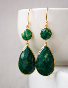 Gold Green Emerald Quartz Earrings - Long Drop Earrings - Jade. $95.00, via Etsy.